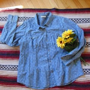 Natural Reflections Patterned Denim Button Down